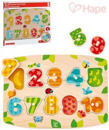 HAPE DŘEVO Baby čísla na desce puzzle vkládací s úchyty 10 dílků pro miminko - zvětšit obrázek