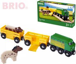 BRIO DŘEVO Vlak na přepravu zvířat set mašinka + 2 vagonky se zvířátky - zvětšit obrázek