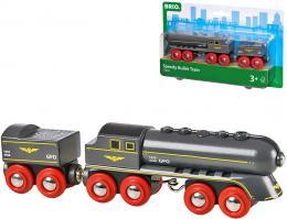 BRIO DŘEVO Set lokomotiva + vagon na uhlí vlak rychlá střela - zvětšit obrázek