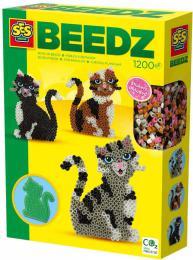 SES CREATIVE Korálky zažehlovací kočky kreativní set 1200ks s doplňky - zvětšit obrázek