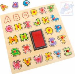 WOODY DŘEVO Razítka puzzle vkládací s úchyty 2v1 abeceda set 26ks s poduškou - zvětšit obrázek