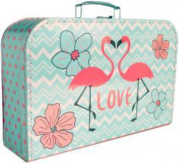 KAZETO Kufr dětský růžovo-modrý plameňáci 35x21x10cm šitý lepenkový - zvětšit obrázek