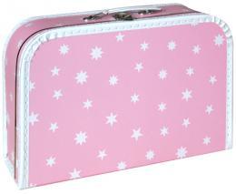 KAZETO Kufr dětský růžový bílé hvězdičky 35x23x11cm šitý lepenkový - zvětšit obrázek