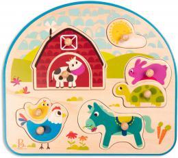 B-TOYS DŘEVO Baby puzzle farma vkládací na desce 8 dílků *DŘEVĚNÉ HRAČKY* - zvětšit obrázek