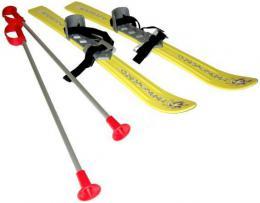 SEDCO Baby lyže dětské kluzky 70cm s holemi a vázáním žluté - zvětšit obrázek
