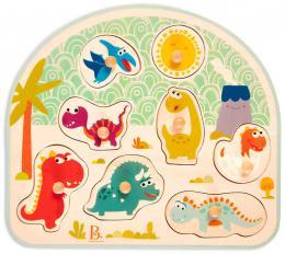 B-TOYS DŘEVO Baby puzzle dinosauři vkládací na desce 8 dílků *DŘEVĚNÉ HRAČKY* - zvětšit obrázek