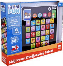 Tablet dětský dvojjazyčný naučný CZ/AJ na baterie 6 her Světlo Zvuk plast - zvětšit obrázek