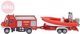 SIKU Auto hasiči Unimog s přívěsem s člunem 1:87 kovové 1636 - zvětšit obrázek