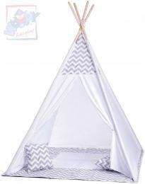 WOODY Stan dětský indiánský 124x170x124cm set bílé TeePee + polštářek 2ks - zvětšit obrázek
